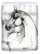 Arabian Horse Drawing 8 Duvet Cover by Angel  Tarantella