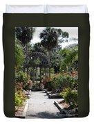 Arbor In The Rose Garden Duvet Cover