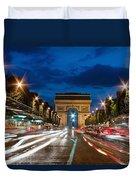 Arc De Triomphe At Dusk Paris Duvet Cover