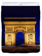 Arc De Triomphe At Night Paris France Duvet Cover