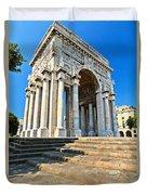arc of triumph in Piazza Della Vittoria - Genova Duvet Cover