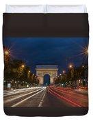 Arch De Triomphe And Avenue Des Champs Elysees Paris France Duvet Cover