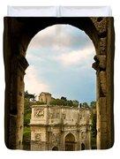 Arch Of Constantine Through The Colosseum Duvet Cover