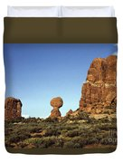 Arches National Park With Balanced Rock And Rock Formations Duvet Cover