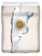 Argentina Map Art With Flag Design Duvet Cover