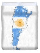 Argentina Painted Flag Map Duvet Cover