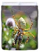 Argiope Spider And Grasshopper Vertical Duvet Cover