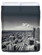 Arial View Of Calgary Facing West Duvet Cover