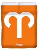 Aries Zodiac Sign White On Orange Duvet Cover
