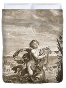 Arion Preserved By A Dolphin, 1731 Duvet Cover