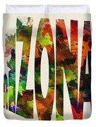 Arizona Typographic Watercolor Map Duvet Cover