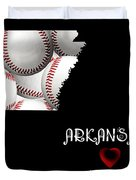 Arkansas Loves Baseball Duvet Cover by Andee Design