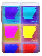 Arkansas Pop Art Map 2 Duvet Cover by Naxart Studio