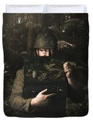 Army Soldier With Security Screen Saver Duvet Cover