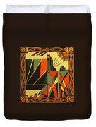 Art Deco In Orange Duvet Cover
