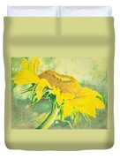Sunflower Print Art For Sale Colored Pencil Floral Duvet Cover