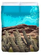 Art No 1901 American Landscape Cactus Stone Mountains And Skyview By Navinjoshi Artist Toronto Canad Duvet Cover