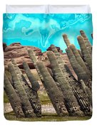 Art No.1900 American Landscape Cactus Stone Mountains And Skyview By Navinjoshi Artist Toronto Canad Duvet Cover