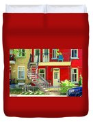 Art Of Montreal Upstairs Porch With Summer Chair Red Triplex In Verdun City Scene C Spandau Duvet Cover