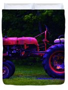 Artful Tractor In Purples Duvet Cover