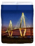 Arthur Ravenel Bridge At Evening  Duvet Cover