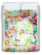 Arthur Rimbaud Watercolor Portrait Duvet Cover