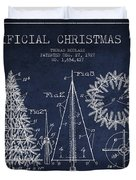 Artifical Christmas Tree Patent From 1927 - Navy Blue Duvet Cover