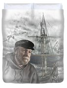 Artistic Digital Image Of An Old Sea Captain Duvet Cover