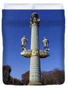 Artistic Lamp Post At The Place De La Concorde In Paris France Duvet Cover