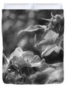 artistic painterly Black and white monochromatic two dogroses summer 2014 Duvet Cover