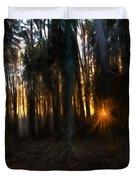 Artistic Painterly Sun Between Trees  Duvet Cover