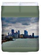 Artistic Pittsburgh Skyline Duvet Cover