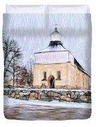 Artistic Presentation Of #svinnegarns #kyrka #church Of #svinnegarn March 2014 Viewed From The Parki Duvet Cover