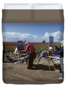 Artists Painting Tulip Fields Standing In A Row  Duvet Cover