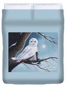 White Snow Owl Painting Duvet Cover