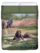 Asian Elephants - In Support Of Boon Lott's Elephant Sanctuary Duvet Cover