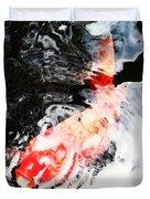 Asian Koi Fish - Black White And Red Duvet Cover
