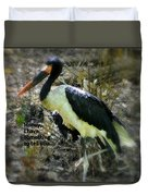 Asian Stork With Message Duvet Cover
