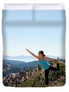 Asian Woman Practicing Yoga Outdoors Duvet Cover
