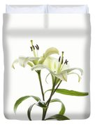 Asiatic Lily Flowers Against White Duvet Cover