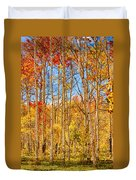 Aspen Fall Foliage Portrait Red Gold And Yellow  Duvet Cover