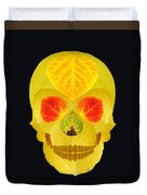 Aspen Leaf Skull 4 Black Duvet Cover