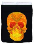 Aspen Leaf Skull 6 Black Duvet Cover