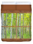 Aspen Tree Forest Autumn Picture Window Frame View  Duvet Cover
