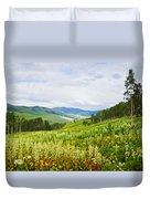 Aspen Trees And Wildflowers Duvet Cover