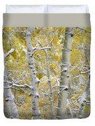 Aspen Trees Covered With Snow Duvet Cover
