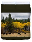 Aspens And Cows Duvet Cover