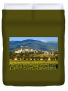 Assisi From The Sunflower Fields Duvet Cover