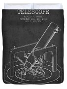 Astronomical Telescope Patent From 1943 - Dark Duvet Cover