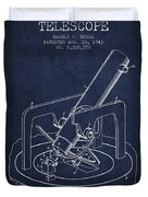 Astronomical Telescope Patent From 1943 - Navy Blue Duvet Cover